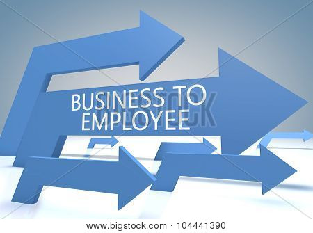 Business to Employee - render concept with blue arrows on a bluegrey background. poster