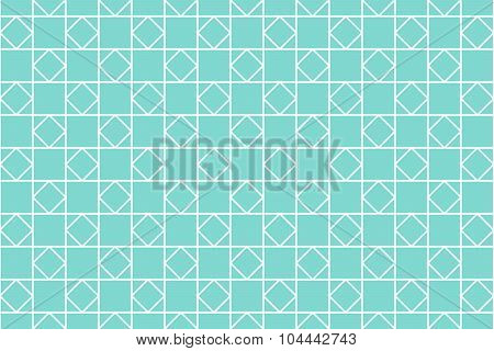 Seamless geometric pattern. Quadrilateral shapes. Squares and rhombus on teal color