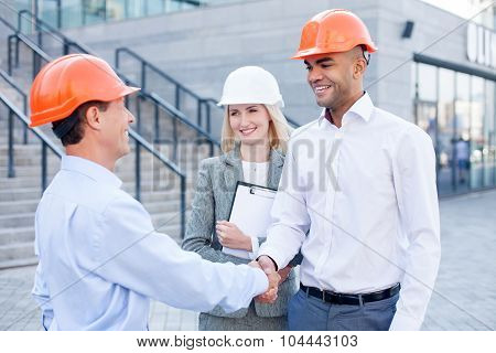 Professional construction team made a deal with handshake