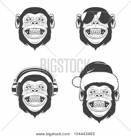Set of monkey heads