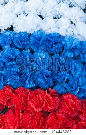 Russian Flag Made Of Artificial Flowers