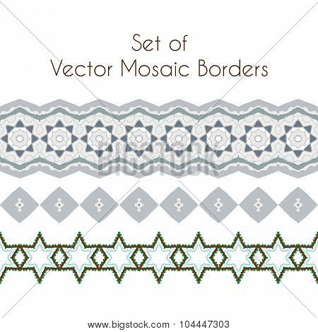 Set of exquisite filigree borders or brush style mosaics and inlay