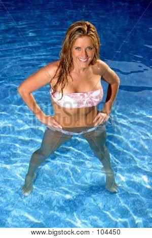Woman In Pool W Bikini