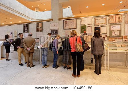 ST. PETERSBURG, RUSSIA - SEPTEMBER 18, 2015: People in the exhibition