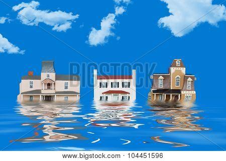 Model houses representing a flood