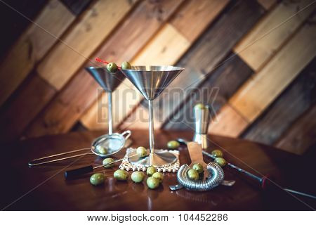 Classic Martini With Olives Served Cold In Restaurant Or Pub. Alcoholic Cocktails In Local Bar.