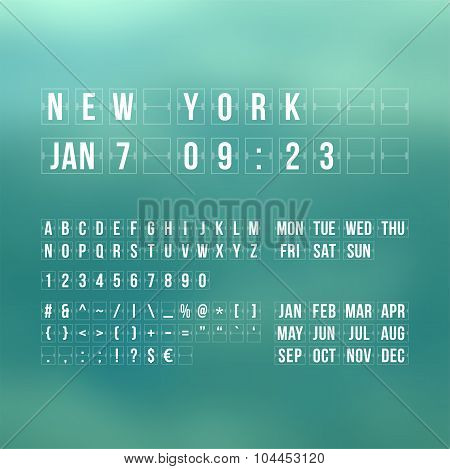 Outline vector countdown timer and date, flat calendar scoreboard numbers poster