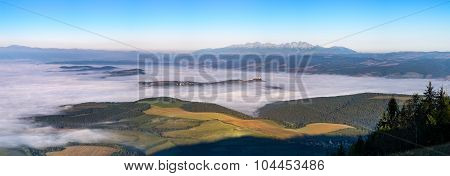 Panoramic Landscape View Of Meadows, Castle And Mountain Range, Slovakia