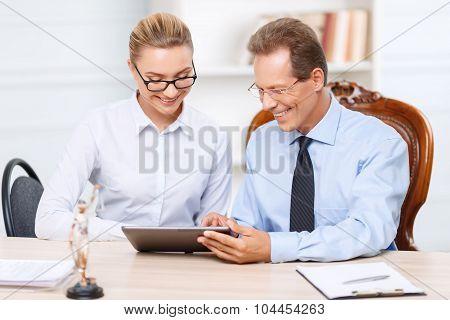 Professional lawyers having conversation