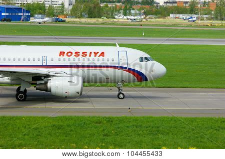 Rossiya Airlines Airbus A319-111 Aircraft In Pulkovo International Airport In Saint-petersburg, Russ