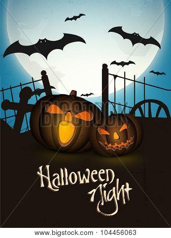 Happy Halloween Party celebration with scary smiley Jack O Lantern on flying bats, horrible night background.