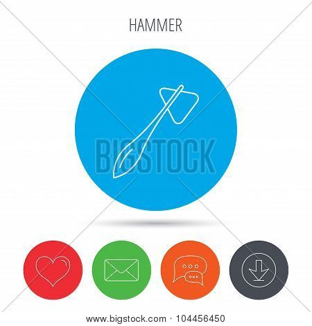 Reflex hammer icon. Doctor medical equipment.