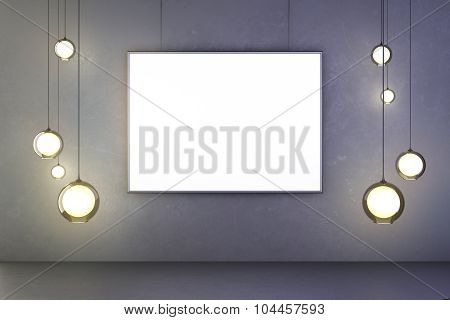 Blank Frame Of A Picture With Lightbulbs On A Concrete Wall, Mock Up