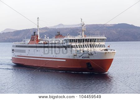 Naxos Greece- May 17 2015: Adamantios Korais ship leaves from the harbor from Naxos in Greece.