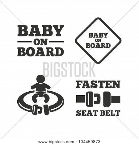 Baby on board icons. Infant caution signs. Fasten seat belt symbol. Flat icons on white. Vector poster