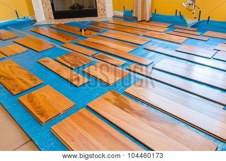 Preparation for installing planks of hardwood floor poster
