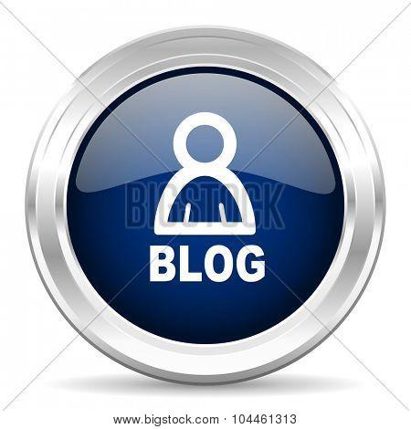 blog cirle glossy dark blue web icon on white background