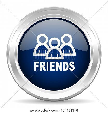 friends cirle glossy dark blue web icon on white background