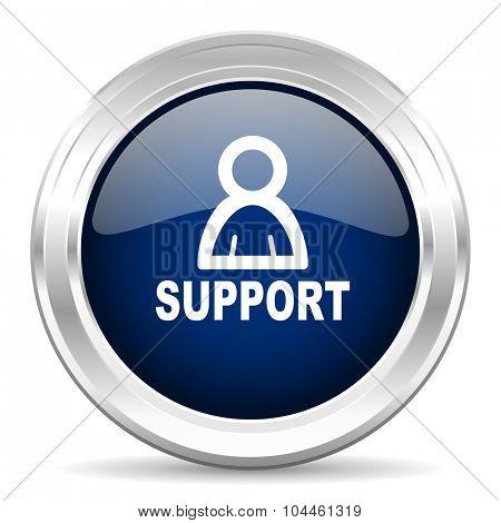 support cirle glossy dark blue web icon on white background