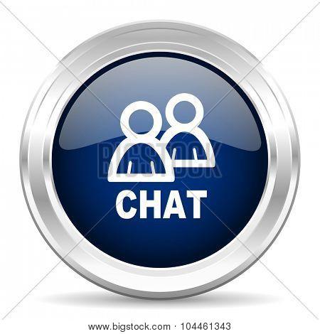 chat cirle glossy dark blue web icon on white background