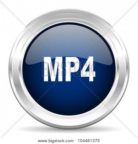 mp4 cirle glossy dark blue web icon on white background