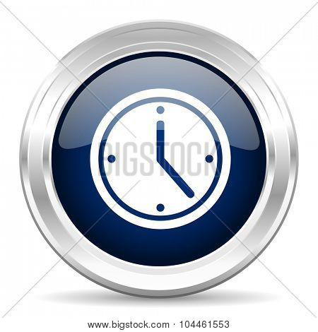 time cirle glossy dark blue web icon on white background
