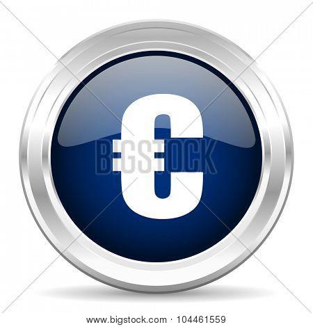 euro cirle glossy dark blue web icon on white background