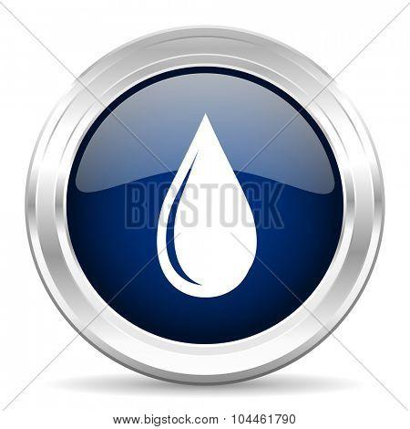 water drop cirle glossy dark blue web icon on white background