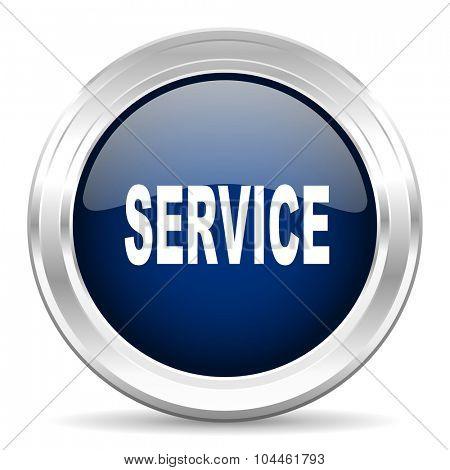service cirle glossy dark blue web icon on white background