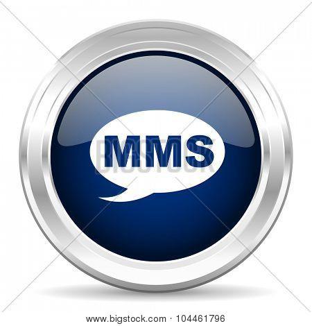 mms cirle glossy dark blue web icon on white background
