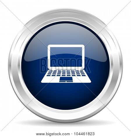 computer cirle glossy dark blue web icon on white background