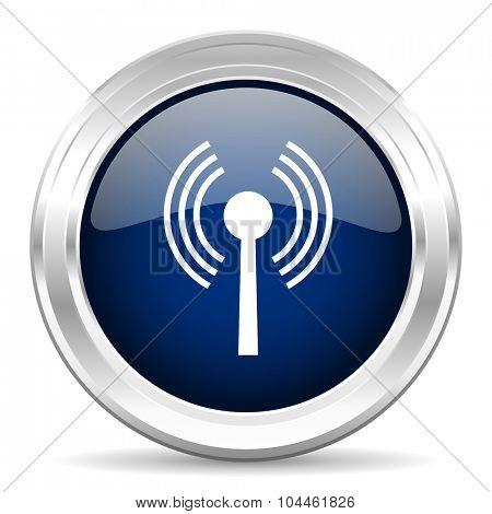 wifi cirle glossy dark blue web icon on white background