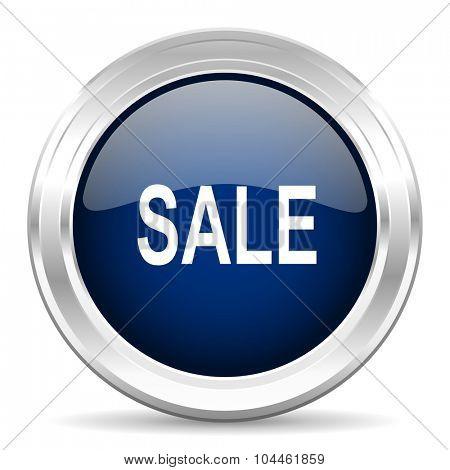 sale cirle glossy dark blue web icon on white background