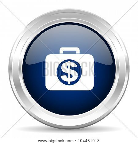 financial cirle glossy dark blue web icon on white background