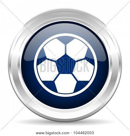 soccer cirle glossy dark blue web icon on white background