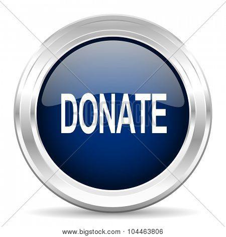 donate cirle glossy dark blue web icon on white background
