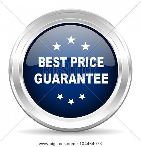 best price guarantee cirle glossy dark blue web icon on white background