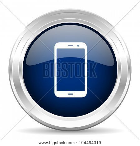 smartphone cirle glossy dark blue web icon on white background