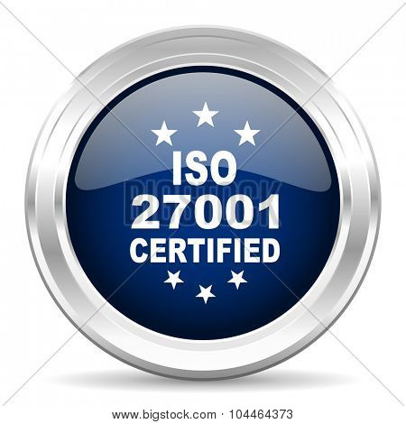 iso 27001 cirle glossy dark blue web icon on white background