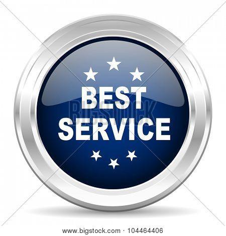 best service cirle glossy dark blue web icon on white background