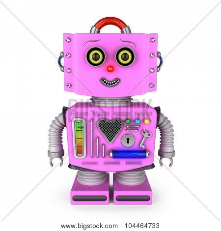 Pink vintage toy robot girl over white background smiling into the camera