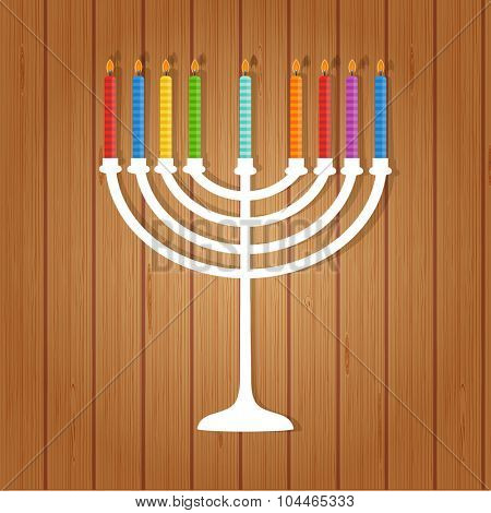 Vector illustration of hanukkah, jewish holiday. Hanukkah menora with  candles on wooden background