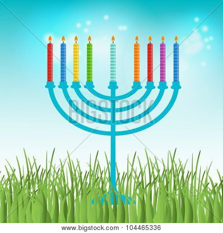 Vector illustration of hanukkah, jewish holiday. Hanukkah menora with  candles on blue sky and green grass background
