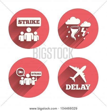 Strike icon. Storm bad weather and group of people signs. Delayed flight symbol. Pink circles flat buttons with shadow. Vector poster