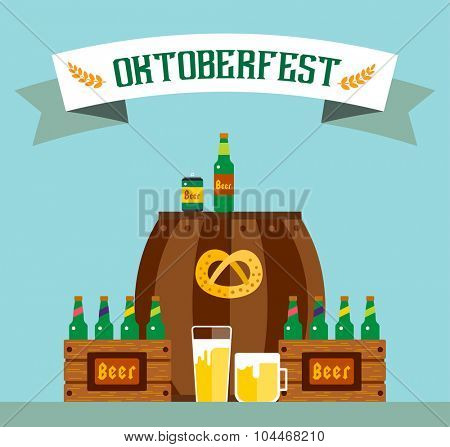 Oktoberfest celebration vector background poster. Oktoberfest vector illustration background text. Beer Oktoberfest German festival vector background. Keg of beer, bottle beer box. Oktoberfest poster