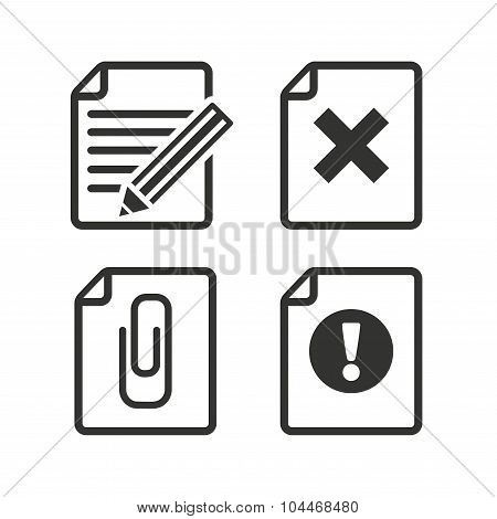File attention icons. Document delete and pencil edit symbols. Paper clip attach sign. Flat icons on white. Vector poster