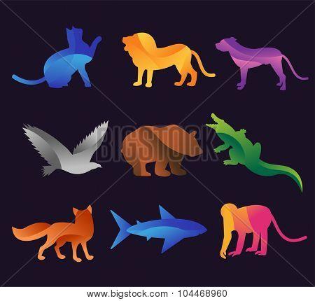 Animal zoo vector icons set. Wild animals vector collection. Jungle animals, vector animals, fox, lion, monkey, cat and dog.