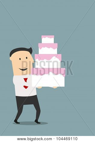 Businessman carrying a birthday cake