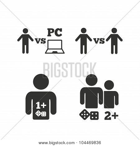 Gamer icons. Board and PC games players signs. Player vs PC symbol. Flat icons on white. Vector poster