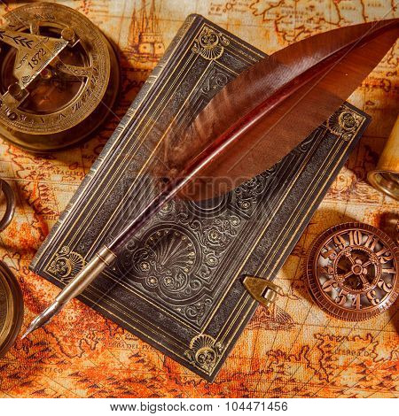 Vintage still life - magnifying glass, pocket watch, old book and goose quill pen lying on an old map in 1565. poster
